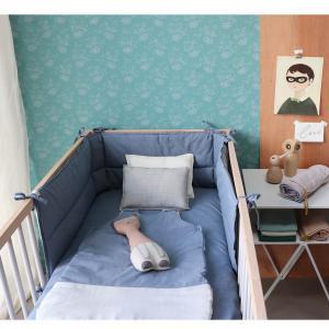 Camomile London - C32MCB - Tour de lit imprimé petits carreaux bleus - 35 x 190 cm (364398)