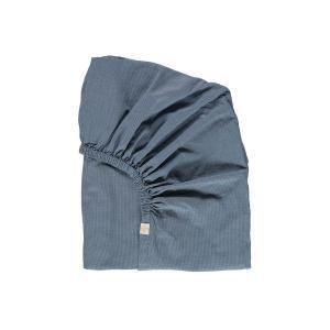 Camomile London - FS0MCB - Drap housse imprimé petits carreaux bleus - 60 x 120 cm (364408)