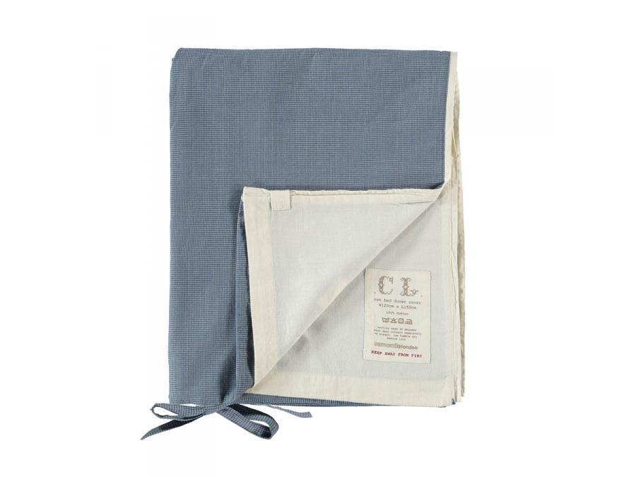 Camomile london housse de couette imprim e petits carreaux bleus 100 x 200 cm - Housse de couette carreaux ...