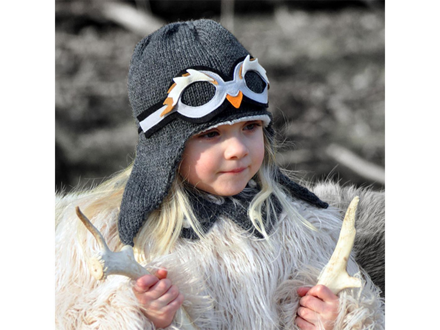 e356739788bb0 Lullaby Road - Bonnet fille gris foncé avec lunette amovible Pingouin - 1/2  ans