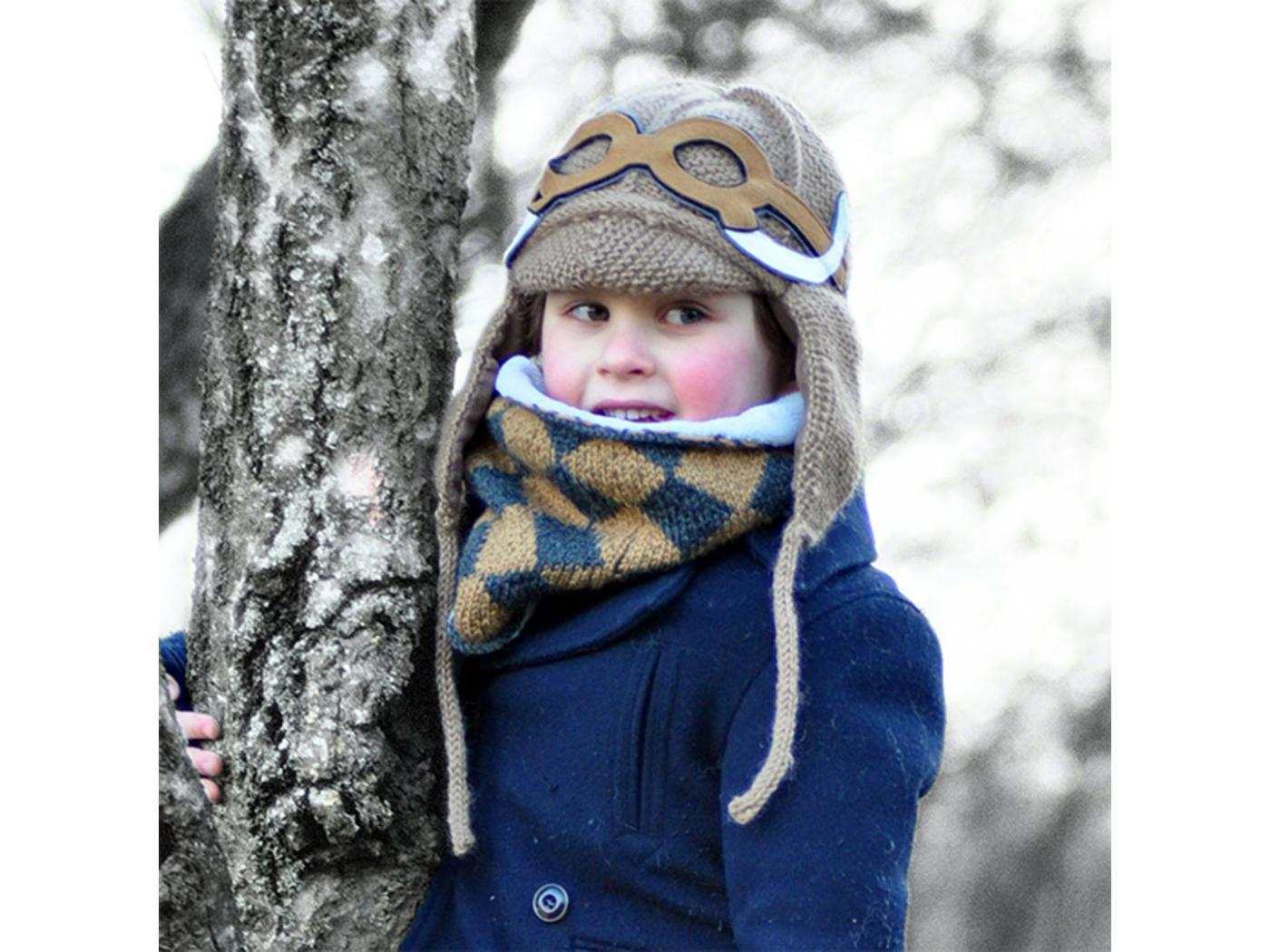 f819605eec065 Lullaby Road - Bonnet gris foncé avec lunette amovible Mammouth - 2/4 ans