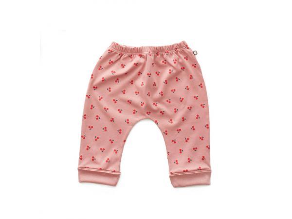 fe67ba5d40cda Pantalon sarouel cerises en coton biologique rose 0/3m