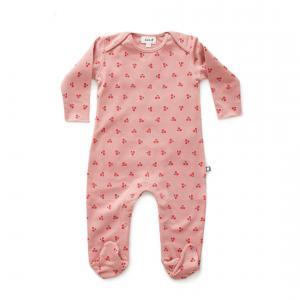 Oeuf Baby Clothes - L112375109 - Combinaison avec pieds cerises en coton biologique rose 6/9M (364686)
