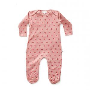 Oeuf Baby Clothes - L112375106 - Combinaison avec pieds cerises en coton biologique rose - 2500 (364690)