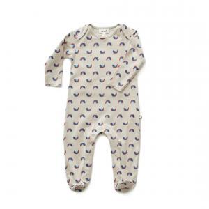 Oeuf Baby Clothes - L112322403 - Combinaison avec pieds chats et arcs-en-ciel en coton biologique grise 0/3M (364700)