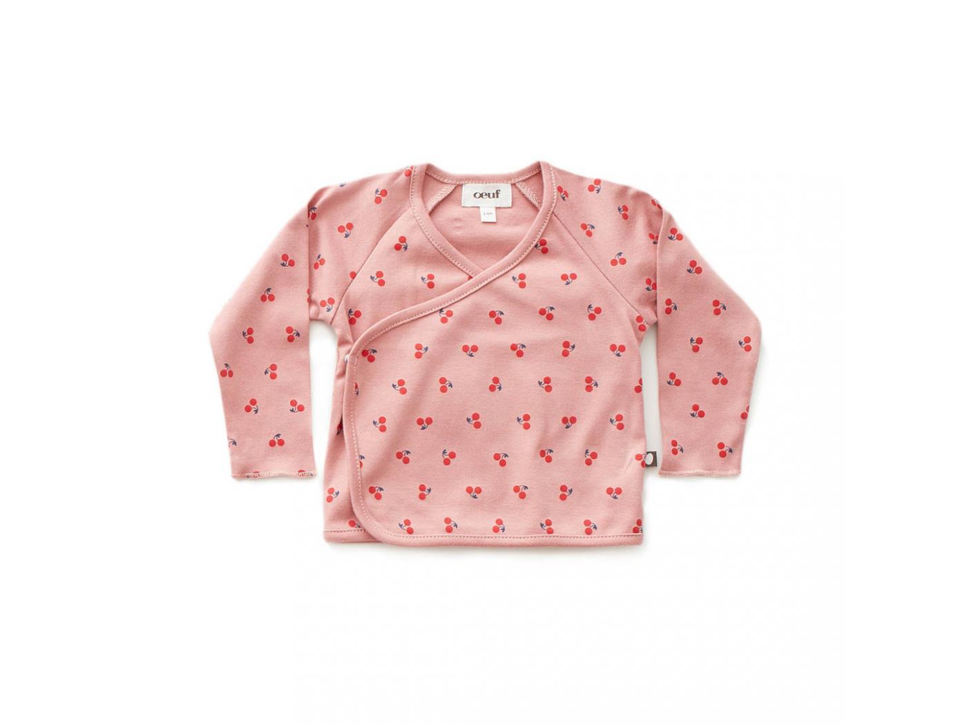 Oeuf Baby Clothes Haut Kimono Cerises Rose En Coton