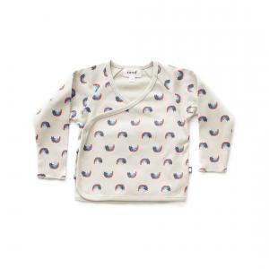 Oeuf Baby Clothes - L107322406 - Haut kimono gris chats et arcs-en-ciel en coton biologique 3/6M (364726)