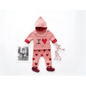 Oeuf Baby Clothes - K11917151206 - Pantalon en Alpaga rose avec cœurs rouges 6M (364758)