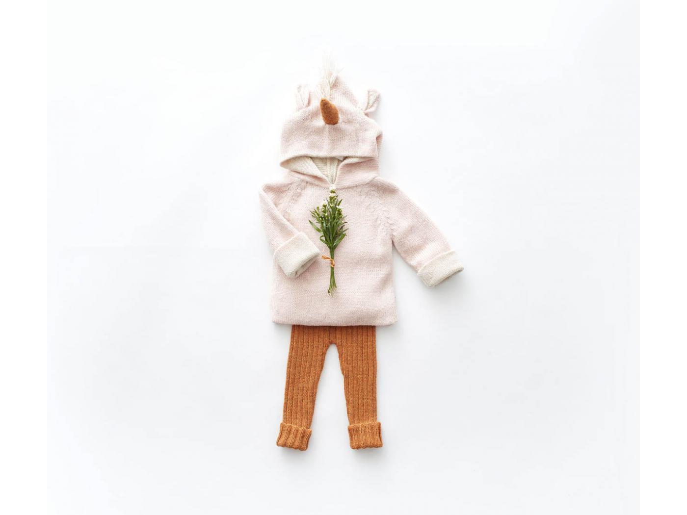 Oeuf Baby Clothes Pull 224 Capuche Rose Licorne En Alpaga 12m