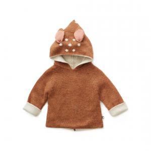 Oeuf Baby Clothes - K10315240018 - Pull à Capuche noisette Bambi en Alpaga 18M (364784)