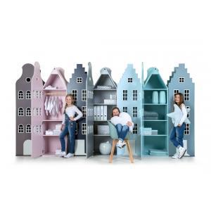 Kast Van Een Huis - EK67170-7 - Armoire enfant Amsterdam - toit Escalier rose pastel (364826)