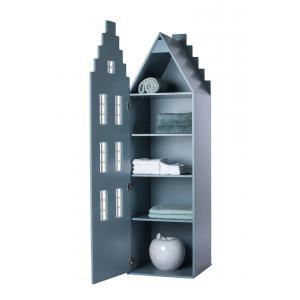 Kast Van Een Huis - EK67170-6 - Armoire enfant Amsterdam - toit Escalier bleu pétrole (364828)