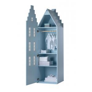 Kast Van Een Huis - EK67170-5 - Armoire enfant Amsterdam - toit Escalier bleu pastel (364830)