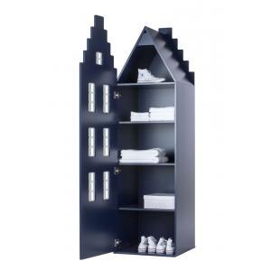 Kast Van Een Huis - EK67170-10 - Armoire enfant Amsterdam - toit Escalier bleu nuit (364836)