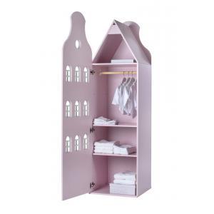 Kast Van Een Huis - EK67162-7 - Armoire enfant Amsterdam - toit Cloche rose pastel (364842)