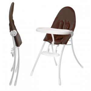 Bloom - E10502-WHB-11-BKS  - Chaise haute Nano cadre blanc et siège marron - 62 x 18 x 91,5 cm (365794)