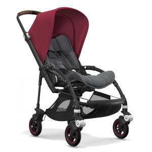 Bugaboo - BU099 - Poussette bugaboo Bee5 noir, nacelle et siège gris chiné, capote rouge rubis (366092)