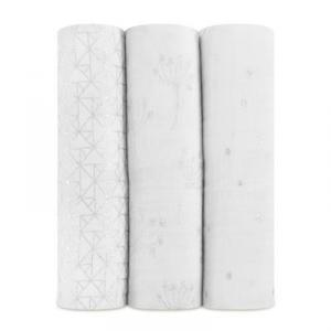 Aden and Anais - 4506G - pack de 3 langes métalliques - silver deco (366224)