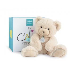 Doudou et compagnie - DC3244 - Unicef - ours beige moyen modèle - 30 cm - boîte cadeau (367978)
