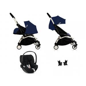 Babyzen - Bu086 - Poussette Yoyo plus Bleu Air France cadre blanc habillages 0+ et 6+ et siège auto Besafe noir (368022)