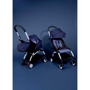 Babyzen - Bu087 - Poussette Yoyo plus complète cadre blanc habillages 0+ et 6+ Bleu Air France et s (368024)