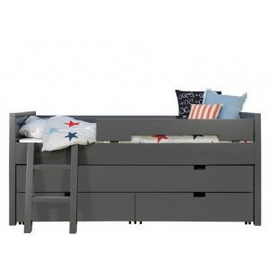 Bopita - 41414620 - 1 tiroir Lit et 2 tiroirs de rangement gris profond (368500)