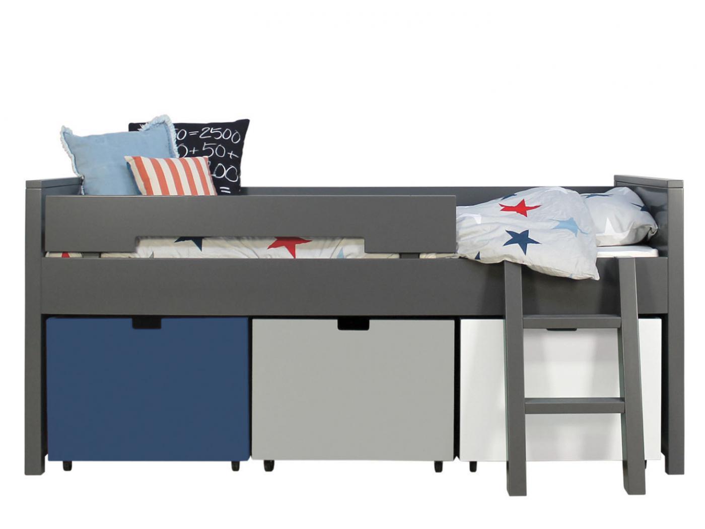 bopita lit compact 90x200 timo gris profond excl 3 tiroirs 5300xx. Black Bedroom Furniture Sets. Home Design Ideas