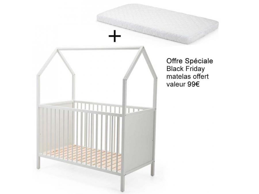 lit b b volutif stokke home blanc et matelas offert. Black Bedroom Furniture Sets. Home Design Ideas