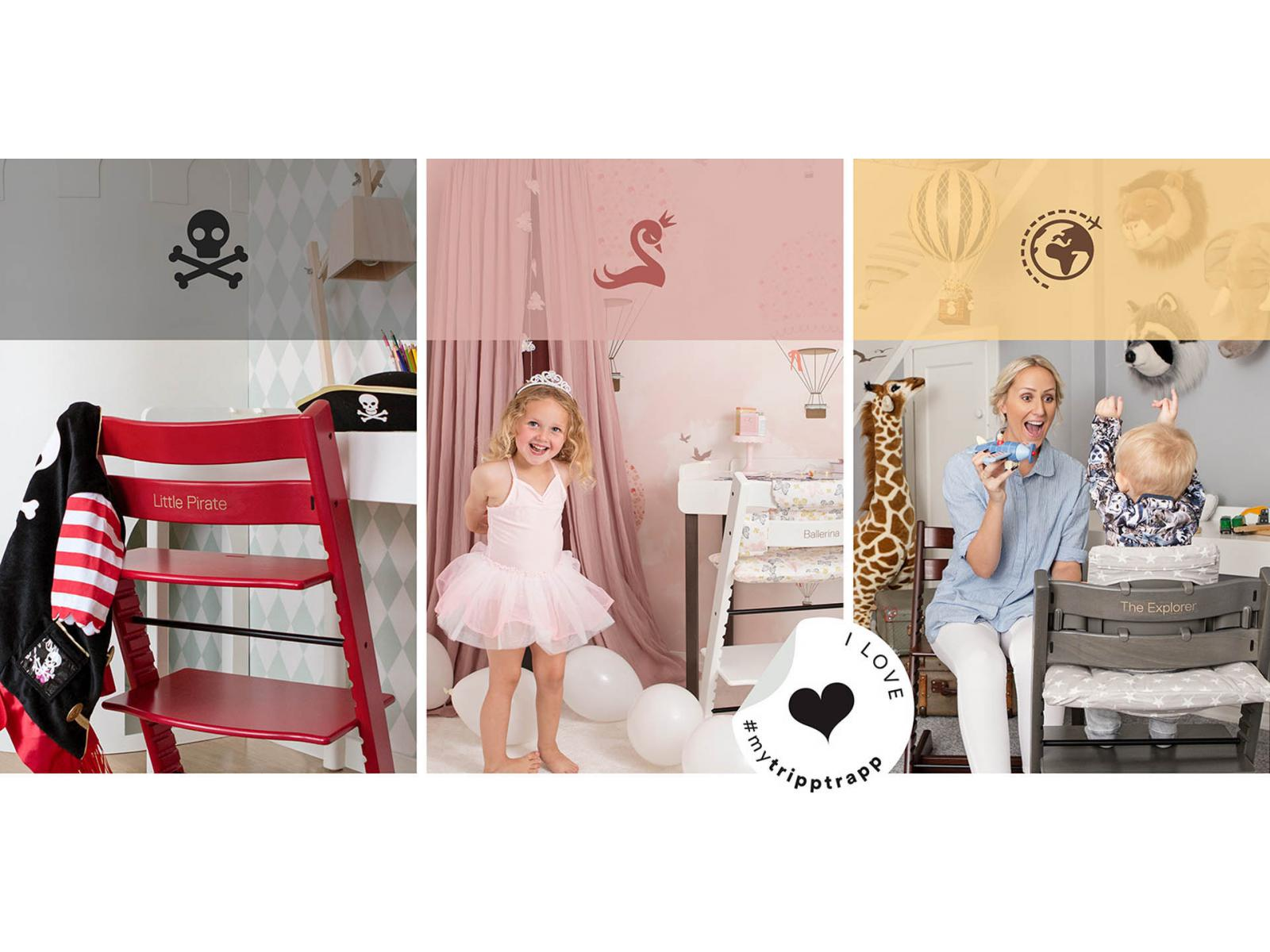 stokke chaise haute tripp trapp rose bruy re personnalisable. Black Bedroom Furniture Sets. Home Design Ideas