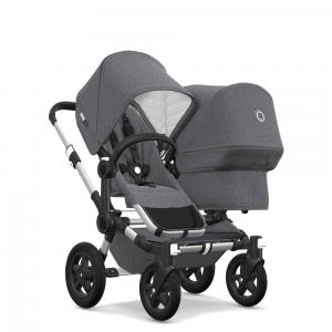 Bugaboo - 180133AE01 - Bugaboo Donkey2 classique extension duo Alu/ Gris chiné (371654)