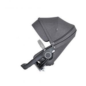 Stokke - 509702 - Nouveau siège de poussette Noir mélange compatible avec les nouveaux chassis Trailz et Xplory V6 (372390)