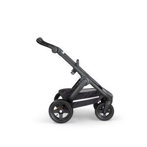 Stokke - 498501 - Nouveau chassis TRAILZ™ Noir, roues tout terrain avec poignée en similicuir noir & garde corps (372434)