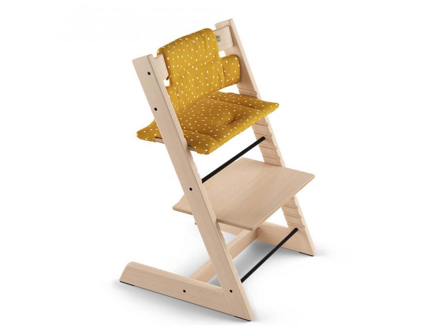 Stokke coussin coton biologique ocre abeille pour chaise tripp trapp - Harnais chaise tripp trapp ...