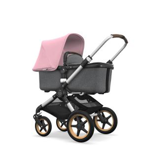 Bugaboo - BU154 - Bugaboo Fox complète ALU  / GRIS CHINÉ / ROSE PÂLE - grips marron, enjoliveurs Wood (373164)