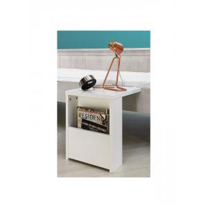 Bopita - 78210734 - Table de nuit avec espace ouvert BASIC WOOD banc cérusé-white wash (379402)