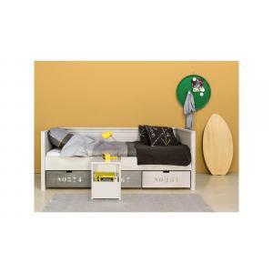 Bopita - 78210747 - Table de nuit avec espace ouvert BASIC WOOD gris cérusé-gravel wash (379404)