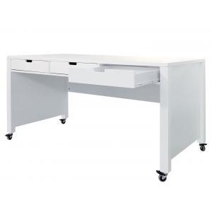 Bopita - 47014611 - Bureau XL à ROULETTES blanc avec 3 tiroirs (379524)