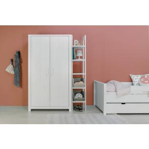 Bopita - 11610715 - Armoire 2 portes BASIC WOOD bleu cérusé-blue wash (379528)