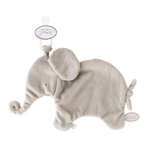 Dimpel - 885404 - Eléphant doudou attache tetine 27 cm - beige-gris (379620)