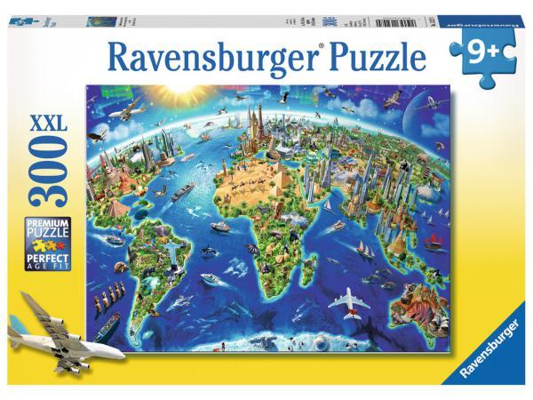 Puzzle 300 pièces xxl - carte des monuments du monde