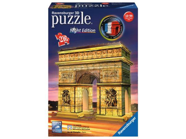 Puzzle 3d building - collection midi illuminée - arc de triomphe - night edition