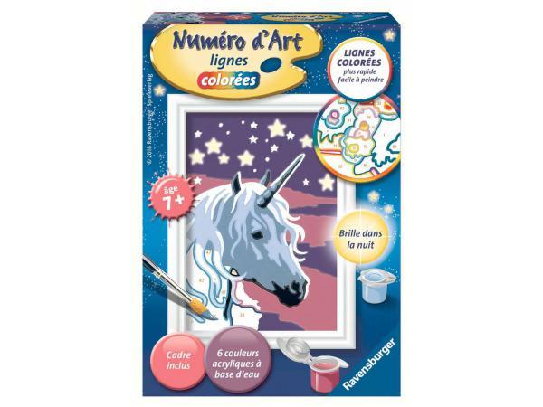 Numéro d'art mini format lignes colorées - jeu créatif - licorne scintillante