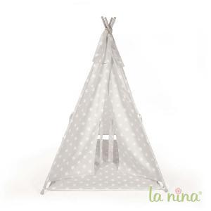 La nina - 62059 - Tipi carlota gris a etoiles (100x140x100 cm) (381750)