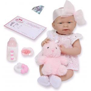 Berenguer - 18059 - Poupon Newborn nouveau né  sexué fille habillé avec robe à œillets et doudou lapin (383254)