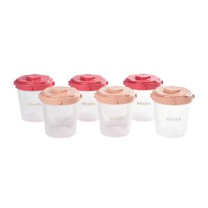 Beaba - 912597 - Lot de 6 portions clip 2ème âge 200ml (coloris assortis pink) (384178)