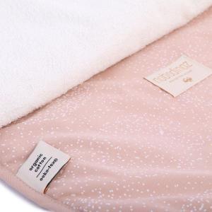 Nobodinoz - N097657 - Matelas à langer Nomad 60x35 cm en coton organique  white bubble - misty pink (387050)