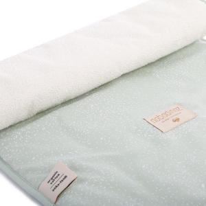 Nobodinoz - N097671 - Matelas à langer Nomad 60x35 cm en coton organique  white bubble - aqua (387054)