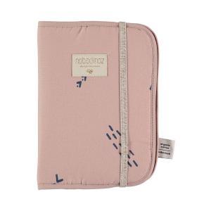 Nobodinoz - N098807 - Protège carnet de santé Poème 24x18 cm blue secrets - misty pink (387456)