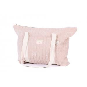Nobodinoz - N105239 - Sac de maternité Paris en coton organique 34x50x12 cm white bubble - misty pink (387492)