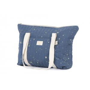 Nobodinoz - N105314 - Sac de maternité Paris en coton organique 34x50x12 cm gold stella - night blue (387510)